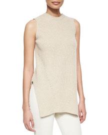 Cashmere-Blend Side-Slit Sweater