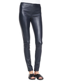Stretch Leather Pull-On Leggings
