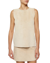 Shearling Fur-Paneled Wool-Blend Top