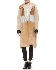 Paneled Shearling Fur Long Coat