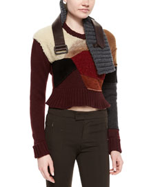 Cashmere-Blend Patchwork Fur-Trimmed Peplum Sweater