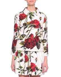 Rose-Print Jacquard Jacket