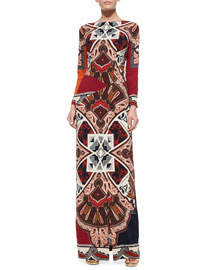 Cady Colorblock Mixed-Print Maxi Dress
