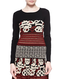 Long-Sleeve Multi-Texture Top, Black/Brick/Ivory