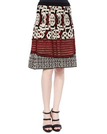 Multi-Texture A-Line Skirt, Black/Brick/Ivory