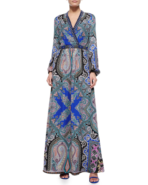 Silk Geo/Paisley-Print Maxi Dress