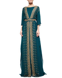 Silk Embroidered Batwing Dress