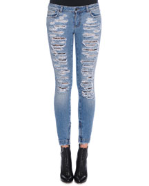 Distressed Denim Jeans, Light Denim