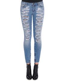 Distressed Denim Jeans, Light Denim