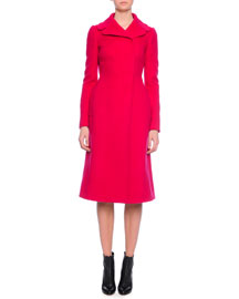 Knee-Length Fitted Coat, Fuchsia