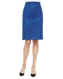 Banded Side-Slit Crepe Skirt