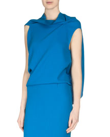 Eugene Draped-Back Wool Crepe Top, Azure