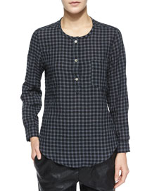 Reece Gingham Button-Placket Blouse