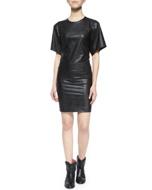 Jadis Short-Sleeve Bonded Leatherette Dress