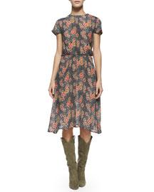 Saky Floral-Print Blouson Dress