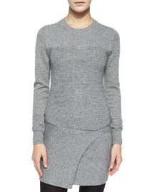 Lemony Long-Sleeve Knit Combo Dress