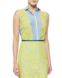 Silk/Lace Sleeveless Shirt