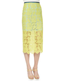 Floral Scalloped Lace Pencil Skirt