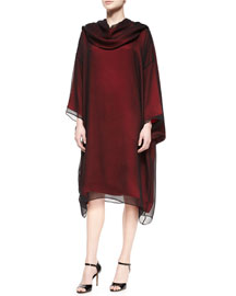 Bateau-Neck Long-Sleeve Tunic Dress, Redshot