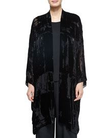 Embroidered Devore Velvet Open Jacket
