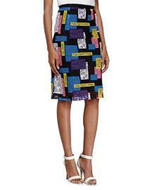 Geometric Lace Pencil Skirt