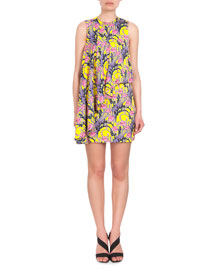 Floral-Print Sleeveless Flounce Dress, Pink/Yellow