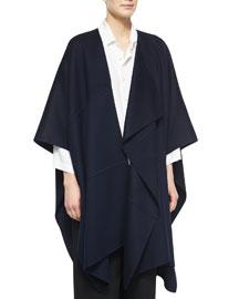 Asymmetric Sleeveless Cashmere Jacket, Navy