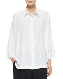 Sloped-Shoulder Button-Front Shirt, White