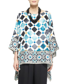 Bateau-Neck Printed Kaftan Top, White Multi
