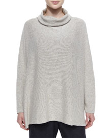 Slim-Sleeve Sideways Knit Sweater