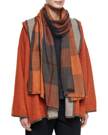 Cashmere Tartan Check Fringe Scarf, Rust Mix