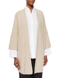 3/4-Sleeve Open Merino Cardigan