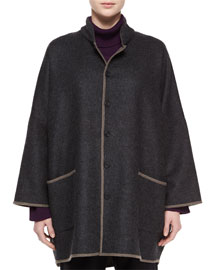 Two-Tone Sloped-Shoulder Coat, Charcoal