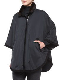 Windmate Cape Reversible to Cashmere With Detachable Mink Collar