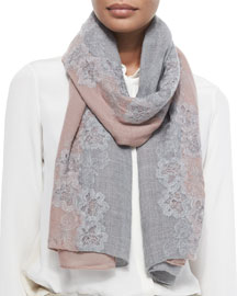 Rose-Embroidered Cashmere-Blend Stole