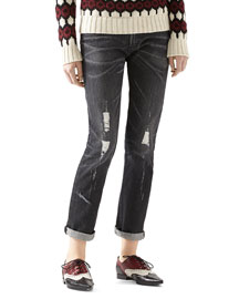 Stone Washed Stretch Ripped Denim Pant
