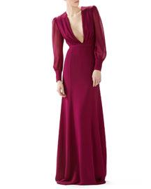 Long Sleeve Silk Georgette Gown