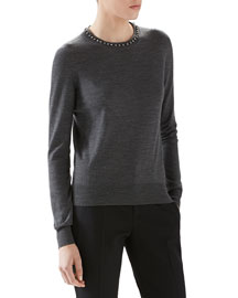 Merino Wool Sweater With Embroidery
