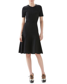 Merino Wool Knit Short Sleeve Dress