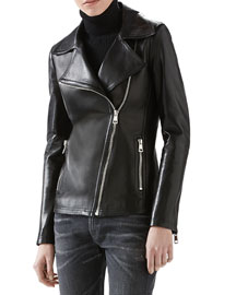Leather And Knit Biker Jacket
