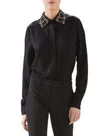 Octagonal Jacquard Satin Embroidered Shirt