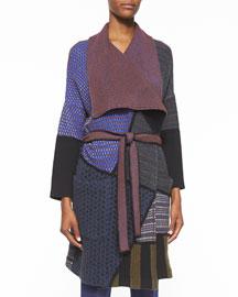 Patchwork Knit Wrap Coat