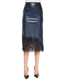 Faux-Leather Fringe-Hem Pencil Skirt