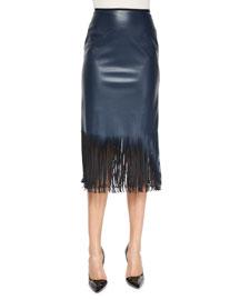Faux-Leather Fringe-Hem Pencil Skirt
