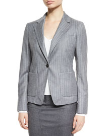 Pinstriped Wool-Cashmere One-Button Jacket, Gray Melange