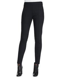 Stretch Wool-Blend Slim-Fit Pants, Ink Black