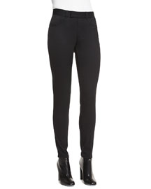 High-Waist Slim-Fit Gabardine Pants, Black