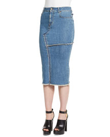 Stretch-Denim Patched-Seam Pencil Skirt, Stone Wash Blue