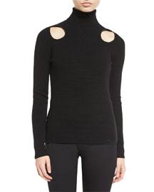 Pique-Knit Cutout Turtleneck Sweater, Black