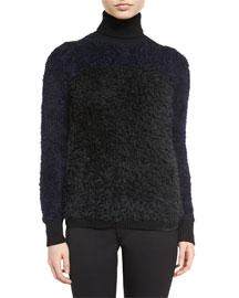 Alpaca-Blend Bicolor Turtleneck Sweater, Black/Indigo